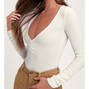 Free People Tops - Free People Cozy Up With Me Bodysuit L